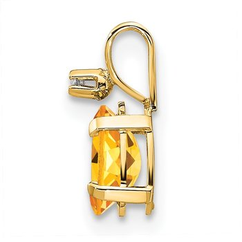 14k Diamond & Citrine Birthstone Pendant