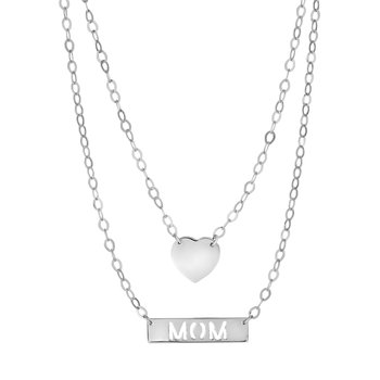 Silver Double Layer Heart & Mom Bar Necklace