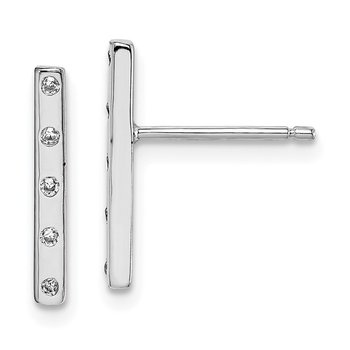Sterling Silver Rhodium plated CZ Bar Post Earrings