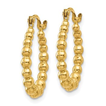 14K Beaded Hoop Earrings