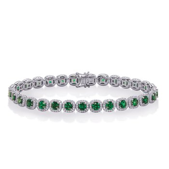White Gold Emerald & Diamond Bracelet