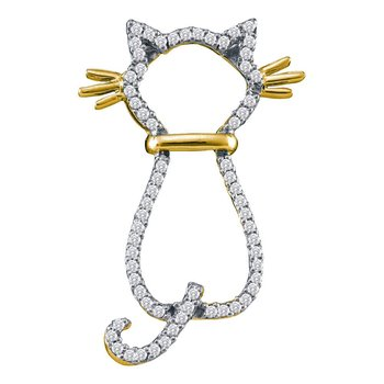 10kt Yellow Gold Womens Round Diamond Kitty Cat Feline Animal Pendant 1/5 Cttw