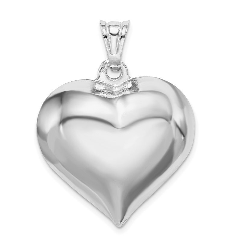 Quality Gold Sterling Silver Rhodium-plated Puffed Heart Pendant