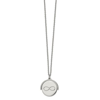 Stainless Steel Polished Infinity Moveable 16.5in w/1.25in ext Necklace