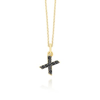 "Black Diamond Baby Block Initial ""X"" Necklace"
