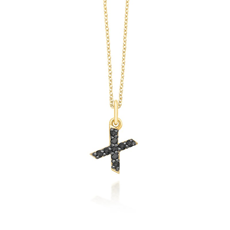 "KC Designs Black Diamond Baby Block Initial ""X"" Necklace"