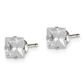 Sterling Silver 5mm Square Snap Set CZ Stud Earrings