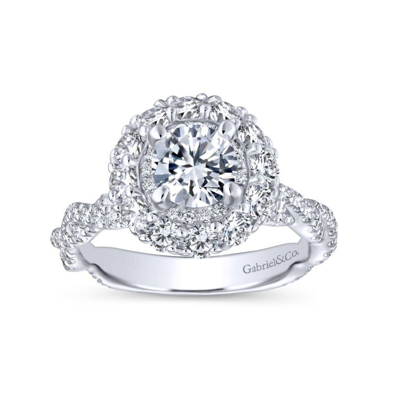 Gabriel Bridal 14K White Gold Round Double Halo Diamond Engagement Ring
