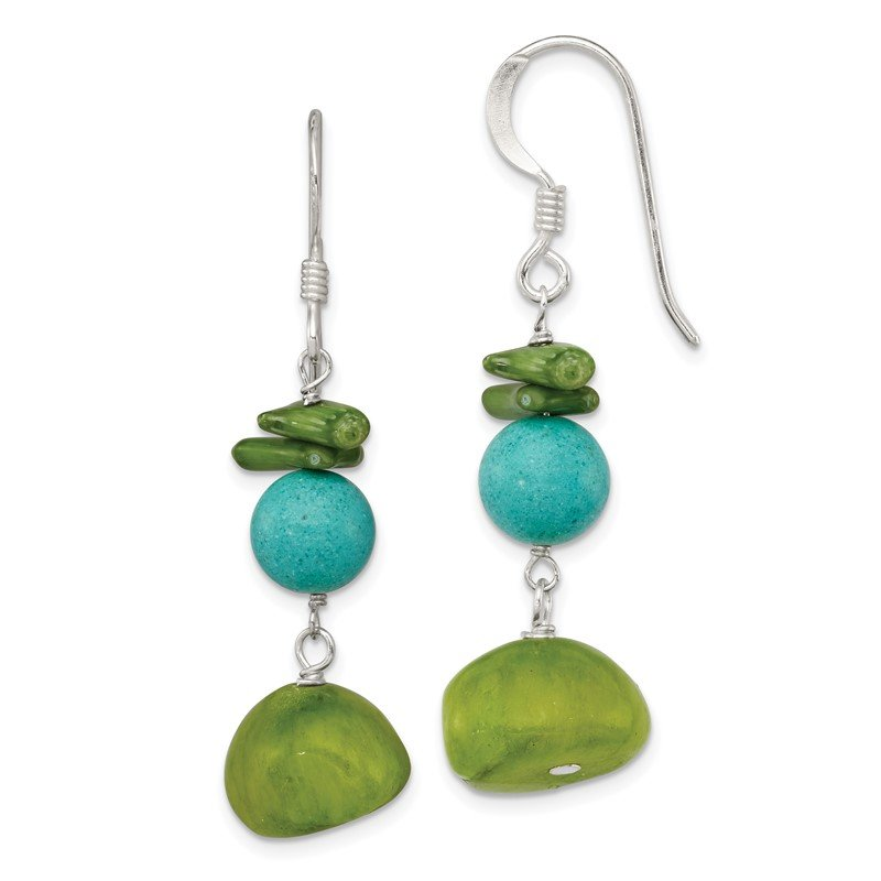 Quality Gold Sterling Silver Jade/Green Coral/Dyed Howlite Earrings