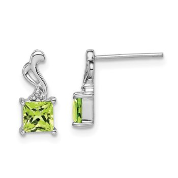 Sterling Silver Rhodium Plated Diamond Peridot Square Post Earrings