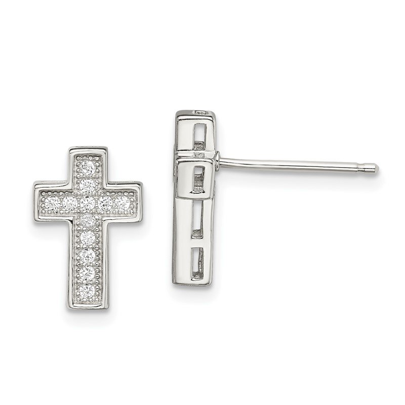 Quality Gold Sterling Silver CZ Cross Post Earrings