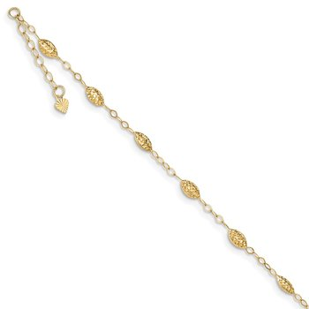 14k Puff Rice Bead 9in Plus 1in ext Anklet