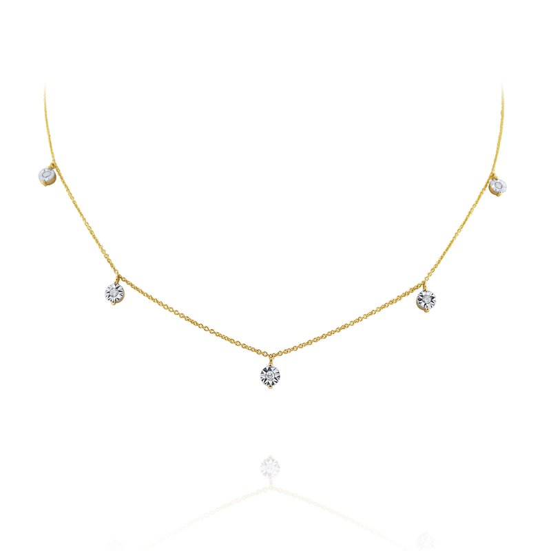 MAZZARESE Fashion Hanging Diamond Station Necklace Set in 14 Kt. Gold