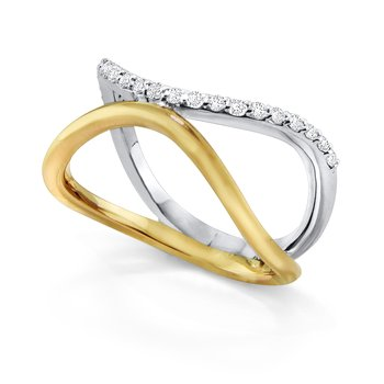 14K Diamond Wave Ring