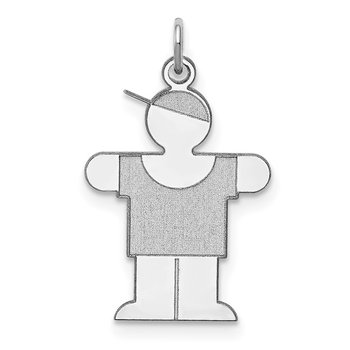 Sterling Silver Rhodium-plated Hugs Kid Charm