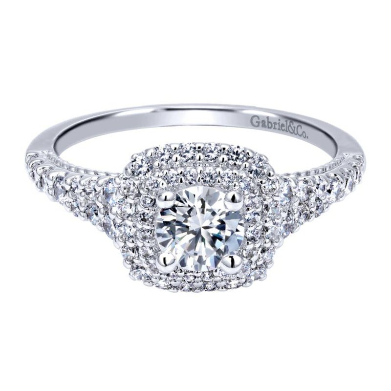 Gabriel  14K White Gold Round Double Halo Diamond Engagement Ring