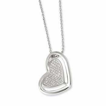 Sterling Silver & CZ Brilliant Embers Polished Heart Necklace