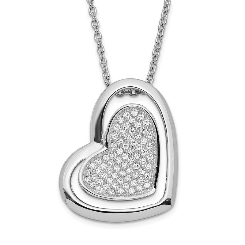 Quality Gold SS Rhodium-Plated CZ Brilliant Embers Heart Necklace
