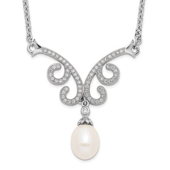 Sterling Silver RH 8-9mm White FWC Pearl CZ Fancy w/1in ext. Necklace