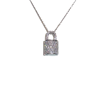 18KT GOLD LOCK PENDANT WITH DIAMONDS