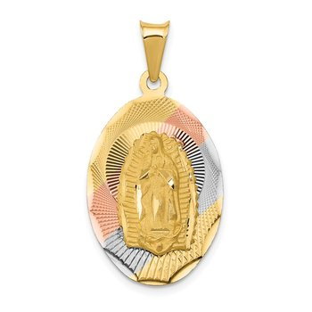 14K w/Rhodium D/C Lady Of Guadalupe Oval Pendant