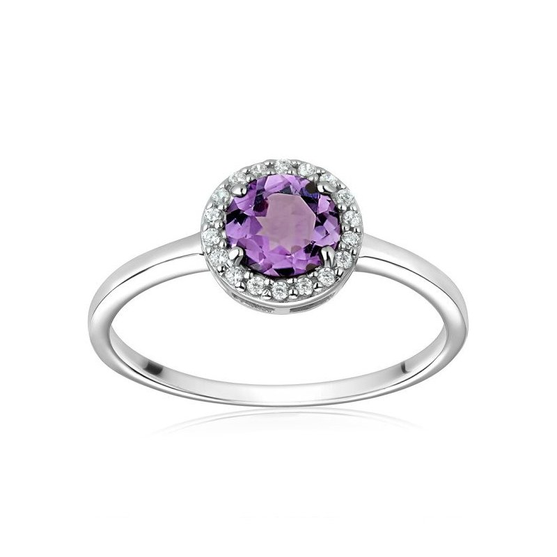 LARUS Jewelry Round Amethyst Ring