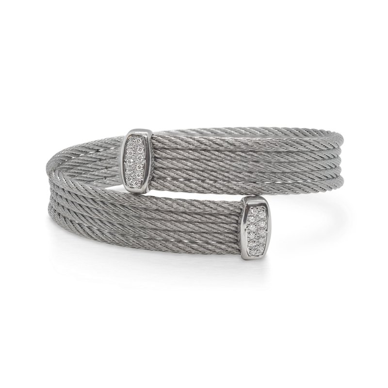 ALOR Catalog Grey Cable Bypass Bracelet with 18tk White Gold & Diamonds