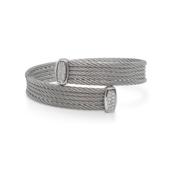 Grey Cable Bypass Bracelet with 18tk White Gold & Diamonds