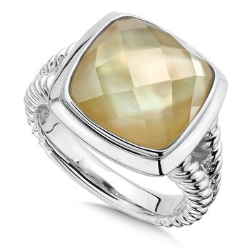 Sterling Silver White Quartz and Dyed Golden Mother of Pearl Fusion Ring