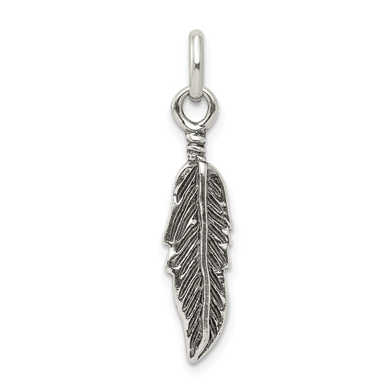 Quality Gold Sterling Silver Antiqued Feather Charm