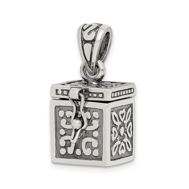 Quality Gold Sterling Silver Square Prayer Box Pendant