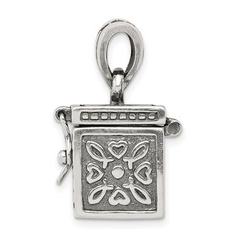 Sterling Silver Square Prayer Box Pendant