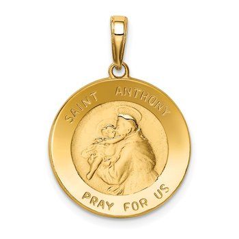 14k Saint Anthony Small Round Medal Pendant