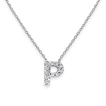 Diamond Bitty Block Initial P Necklace