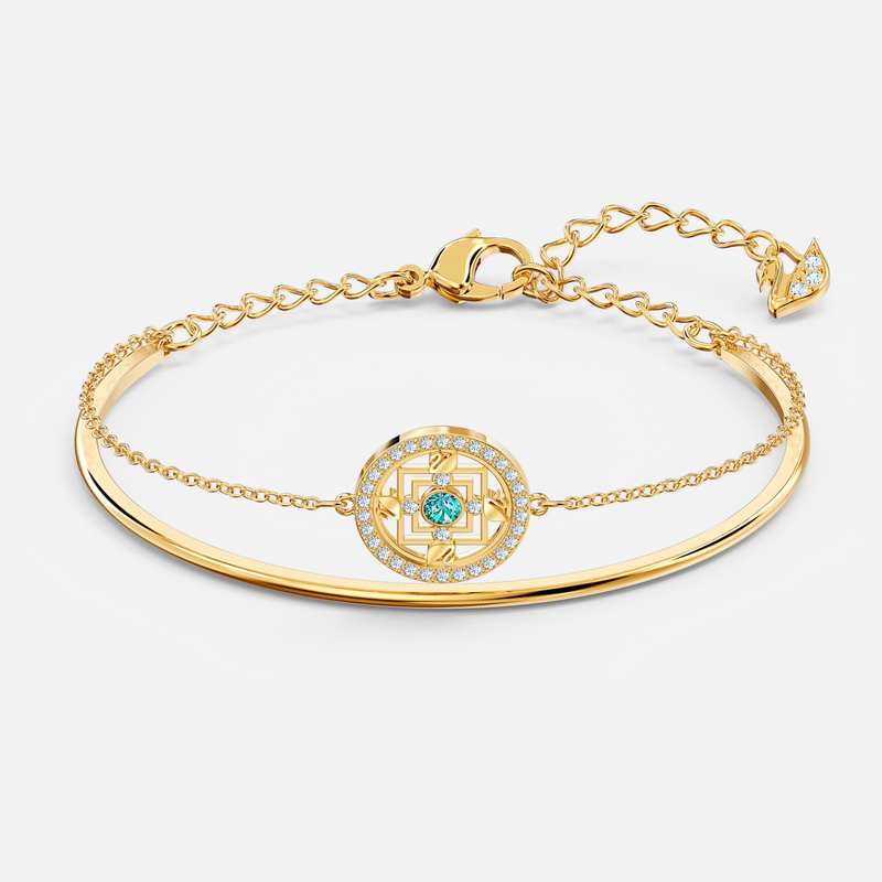Swarovski Swarovski Symbolic Mandala Bangle, Green, Gold-tone plated
