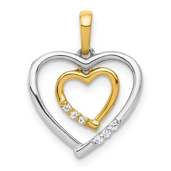 14kt White w/ Rose Gold Heart Charm Diamond Heart Pendant