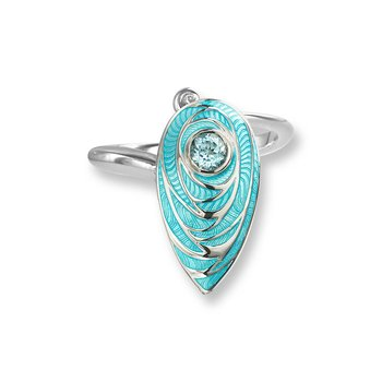 Blue Teardrop Ring.Sterling Silver-Blue Topaz