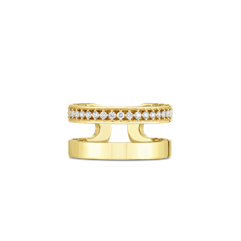 Double Symphony Golden Gate Ring With Diamonds