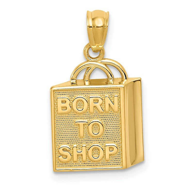 Quality Gold 14K Shopping Bag w/BORN TO SHOP Pendant