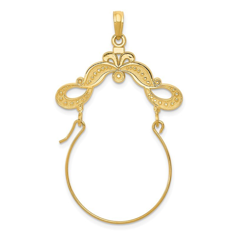 Quality Gold 14k Polished Ribbon Decorated Charm Holder
