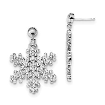 Sterling Silver Brilliant Embers Rhod-pl CZ Snowflake Dangle Post Earrings