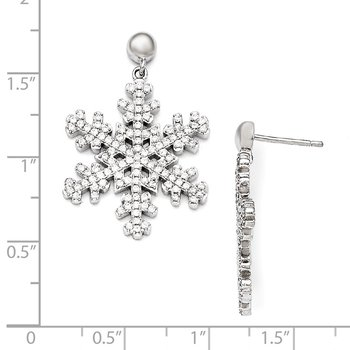 SS RH CZ Brilliant Embers Snowflake Dangle Post Earrings
