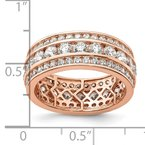 Quality Gold Sterling Silver Rose-plated CZ 3-row Eternity Ring