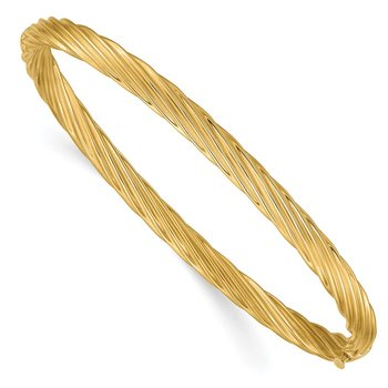 14k 3/16 Oversize Textured Hinged Bangle Bracelet
