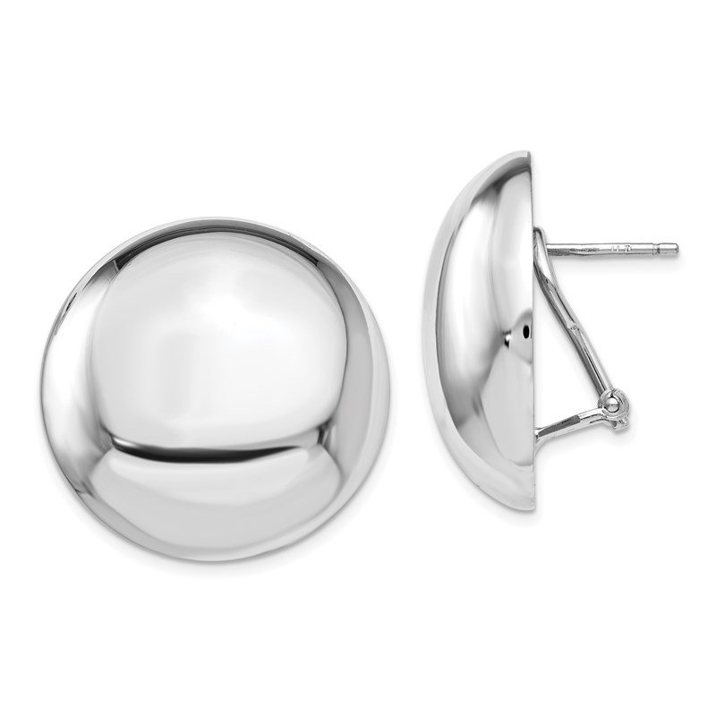 Leslie's Leslie's Sterling Silver Polished Button Omega Back Earrings
