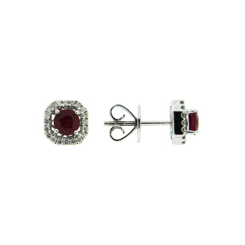 Paragon Fine Jewellery 18k White Gold Earrings with Ruby & Diamond