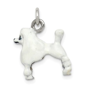 Sterling Silver Enameled White Poodle Charm