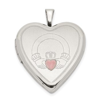 Sterling Silver 20mm Pink Enamel Claddagh Heart Locket