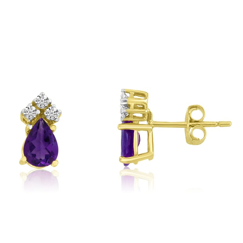 Color Merchants 14k Yellow Gold Amethyst Pear Earrings with Diamonds