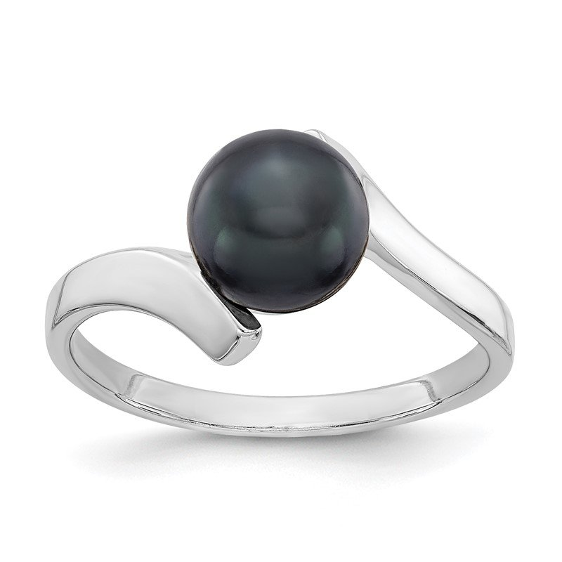 Quality Gold 14k White Gold 7mm Black FW Cultured Pearl Ring